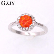 GZJY Beautiful Cute Simple Round Jewelry Orange Fire Opal White Gold Color Wedding Rings For Women Fashion Party Jewelry