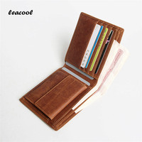 Leacool 2017 Vintage Designer Genuine Leather Men Slim Thin Mini Wallet Crazy Horse Money Clip Small Wallets for Credit Cards
