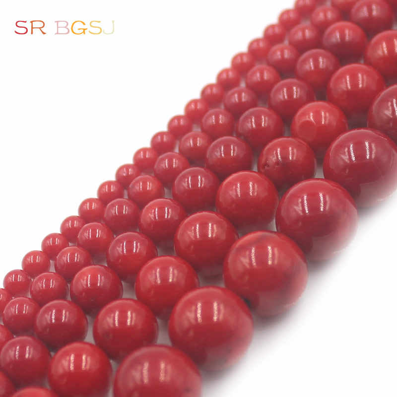 """Free Shipping 4 6 8 10 12mm Round  Sea Bamboo Red Coral Gems Natural Coral Jewelry Loose Beads 15"""""""