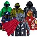 Moda 3-10 T Meninos Casaco Crianças Os vingadores homem De Ferro Primavera/Outono de Algodão Crianças hoodies do Revestimento crianças Roupas de Algodão grosso casacos
