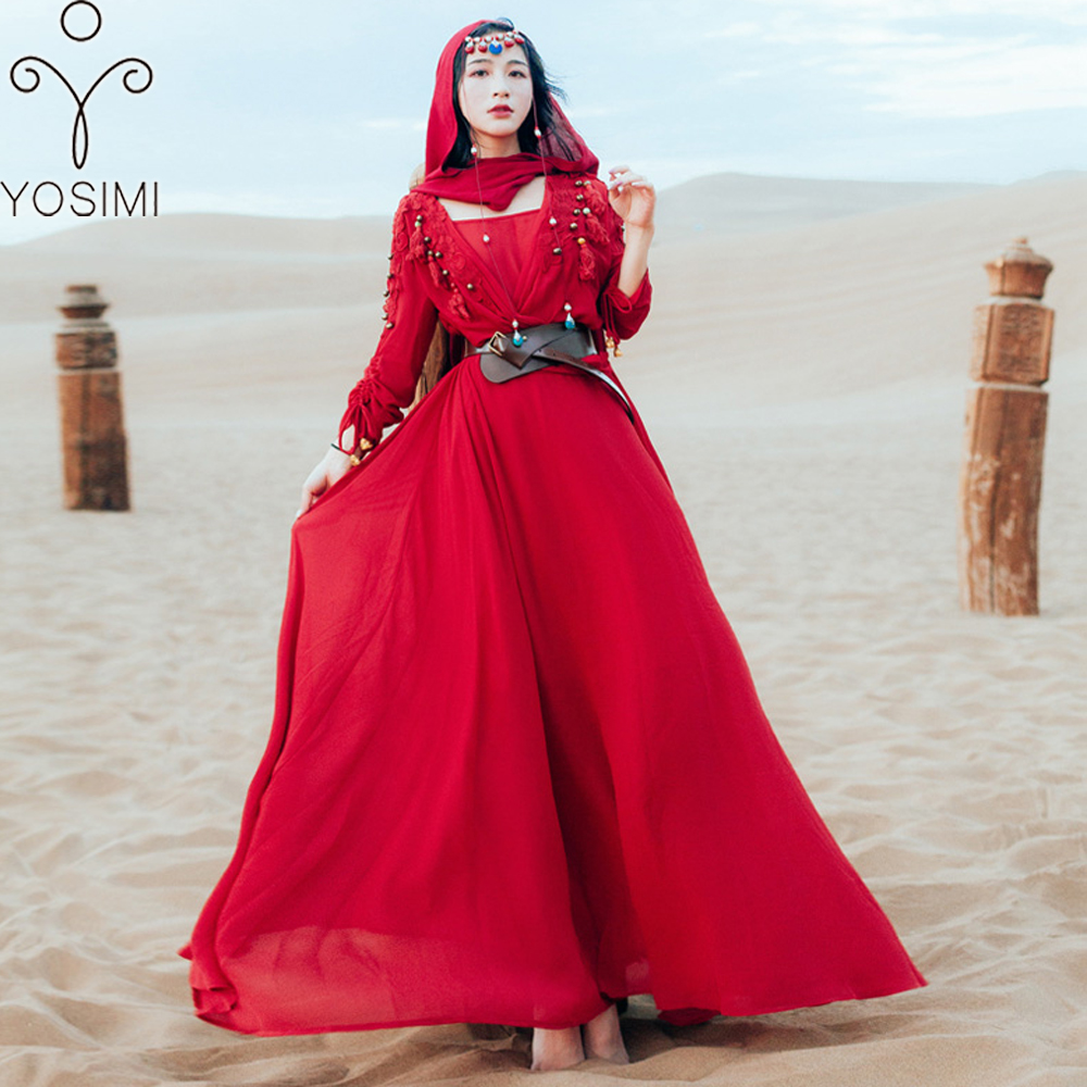 a3811c93aea4 YOSIMI 2018 Long Women Dress Maxi Vintage Chiffon Two Pieces Suit Set  Embroidery Women Dress Evening Party Red Female Vestidos ~ Free Delivery  June 2019