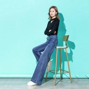 Image 5 - Mulheres de cintura alta mãe jeans denim cordão perna larga jeans azul solto palazzo calças 2019 outono moda namorado jeans mujer
