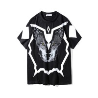 2018SS NEW TOP Summer Marcelo Burlon 3D Wolf head print Men t shirt Hip hop Fashion Casual Cotton T shirts tee black White S XXL