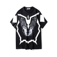 2018SS UUS TOP Suvi Marcelo Burlon 3D Wolf peaprint Meeste särk Hip hop Fashion Casual Cotton T-särgid tee-must S-XXL
