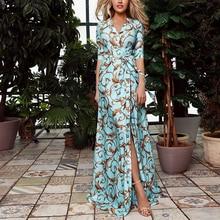 Party Dress Vintage Summer Half Sleeve Print Maxi Dress Elegant Ladies Formal Split Belted Long Dress Women vestidos H40 eyes print belted dress