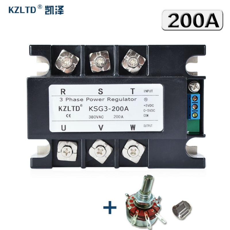 KZLTD Three Phase Voltage Regulator Module 200A 4 20MA 0 5V to 380V AC Three Phase Solid State Relay SSR 200A Power Regulator