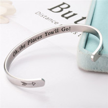 Wide 6mm Cuff Trendy Keep Going oh the pleace you ll go Bracelets Titanium Encouragement Bangle For Men Jewelry