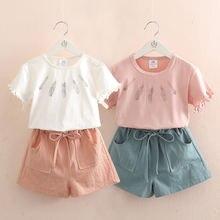Комплект одежды для девочек летняя Однотонная футболка с вырезом