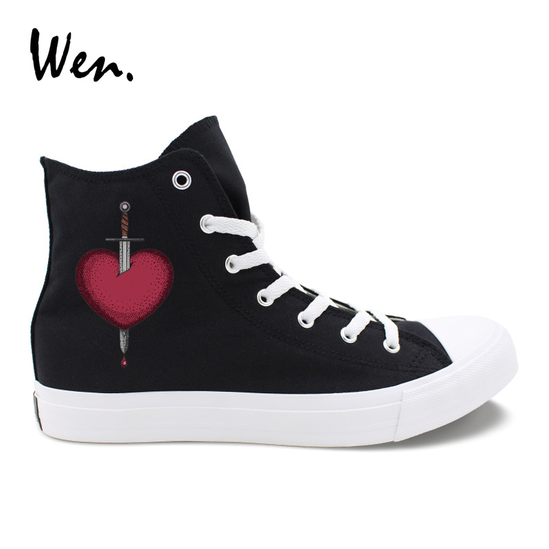 Wen Original Design Couples Shoes Sword Heart Canvas Sneakers Men Women