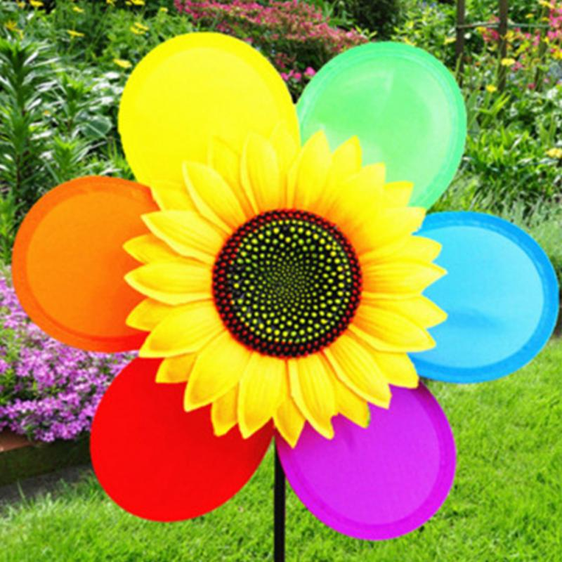 Funny Child DIY Colorful Sunflower Windmill Toy Children Outdoor Activities Toy Garden Decor Gift For Kids #01