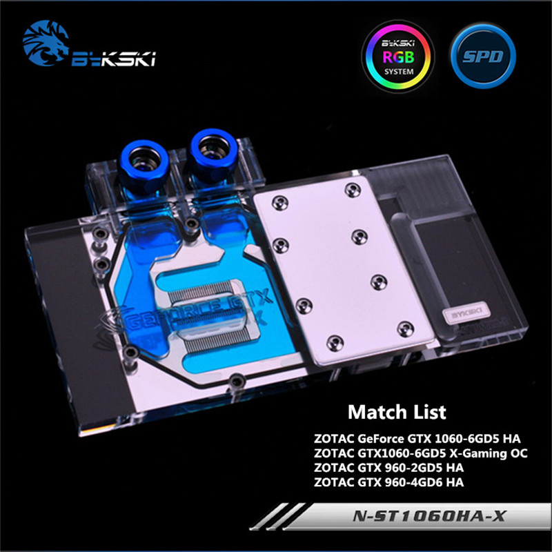 Bykski Full Coverage GPU Water Block For ZOTAC GTX1060 960 Graphics Card N-ST1060HA-X computador cooling fan replacement for msi twin frozr ii r7770 hd 7770 n460 n560 gtx graphics video card fans pld08010s12hh