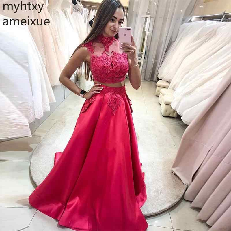 Plus Size Two Pieces Red Prom Dresses With Cap Sleeves Draped Skirt 2019 Sexy Gown Sweep Train Women Formal Party Robe De Soiree