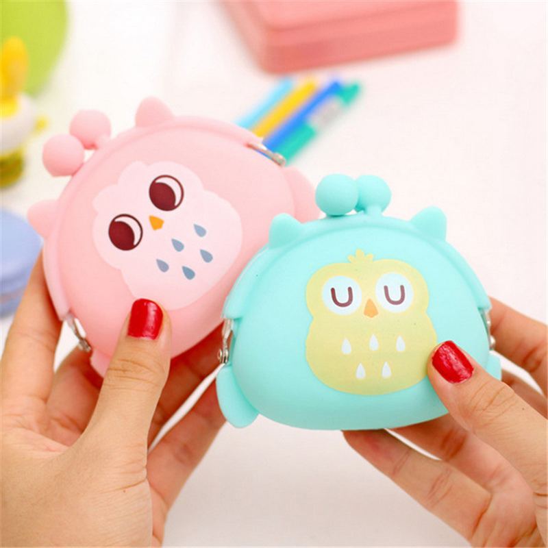 Coin Purses & Holders Girls Cartoon Owl Silicone Jelly Wallet Bag Keys Coin Purse Coin Purses blue