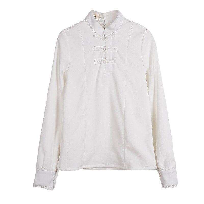 Chinese Vintage Women Mandarin Collar Tang Tops Autumn Winter Shirt White Cute Mori Clothing Plus Size