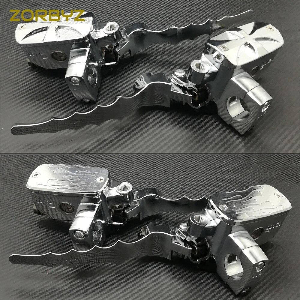 ZORBYZ Chrome 1 25mm Motorcycle Handlebar Control Reservoir Brake Hydraulic Clutch Levers Universal