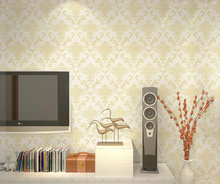 PVC Glitter Blacksilver Damask Wallpaper Background Wall Bedroom. Filed  Under: Living Room ... Part 37