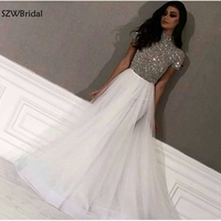 Новое поступление Кепки рукавом белые вечерние наряды долго Дубай вечерние платья в арабском стиле серебро строгое Платье С Бисером Вечерн