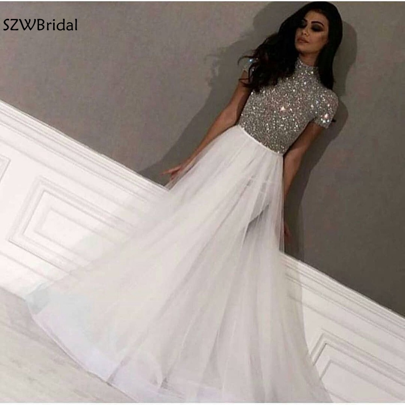 New Arrival Cap Sleeve White Evening Dresses Long Dubai Arabic Evening Gowns Silver Beading Formal Dress Party Robe De Soiree