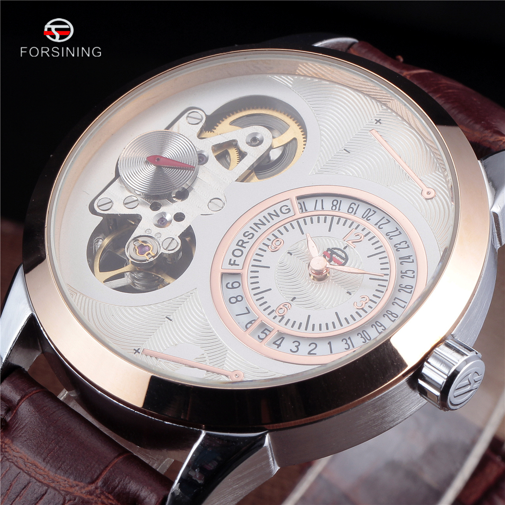 FORSINING Original Brand Unique Mens Skeleton Tourbillon Wristwatch Men Leather Strap Calendar Automatic Mechanical Watch forsining latest design men s tourbillon automatic self wind black genuine leather strap classic wristwatch fs057m3g4 gift box