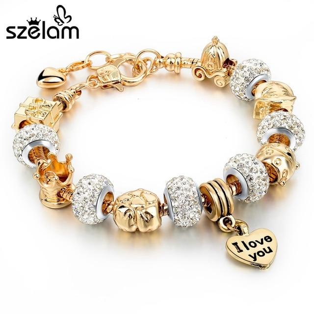 d1e5391a1949 Szelam 2019 oro Pulseras del encanto para las mujeres de cadena de serpiente  de corazón Pulseras