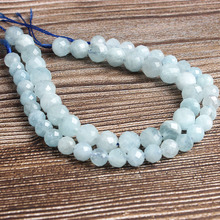 LanLi  natural jewelry 6/8/10mm Carved on the aquamarines loose Beads DIY men and women Bracelet Necklace  anklet Accessories