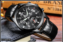 3 Eyes Outdoor Sports Quartz Watch Men 6 Six Pointers multifunction Watches Leather Strap Wristwatch Gift Boys Relojes Hombre