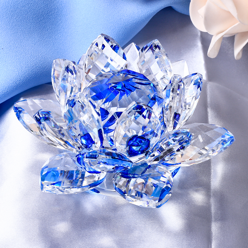 85MM Quartz Crystal Lotus Flower Glass Paper Paperweight Home Wedding Party Decoration Feng Shui Natural Stones Crystal Craft նվերներ