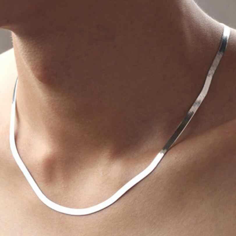 Nowy gorący Unisex płaski łańcuszek wężykowy z kości naszyjnik 45cm 50cm ostrze choker łańcuszek dla kobiet mężczyzn biżuteria ze srebra próby 925 SAN3