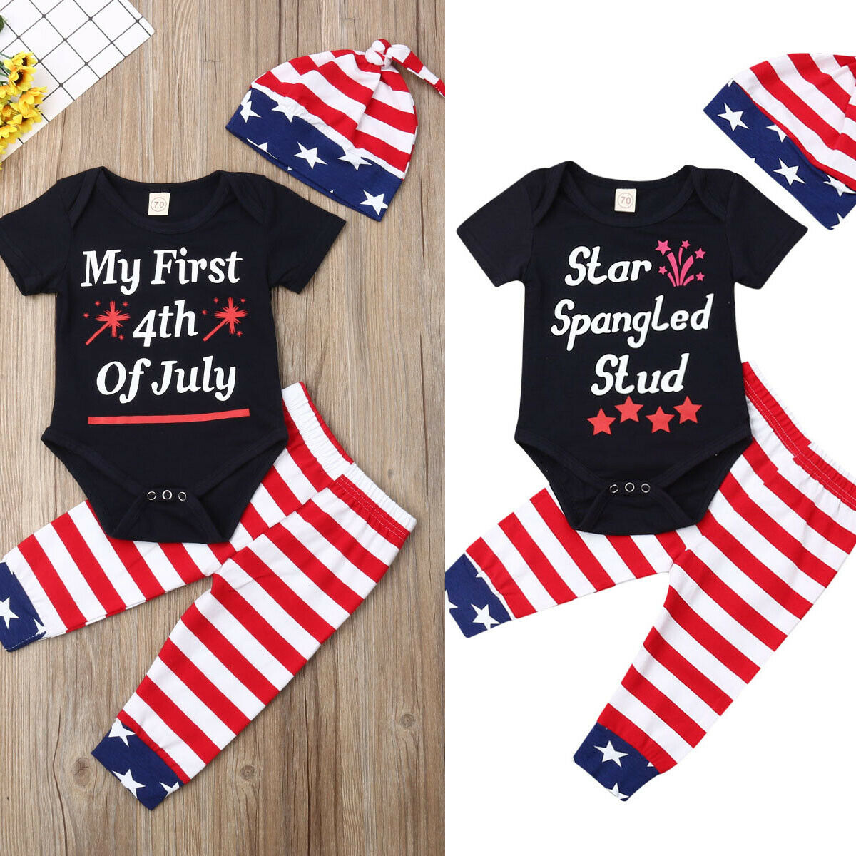 My First 4th of July Baby Boys US Flag Stars Stripes Romper Shorts Pants Outfit