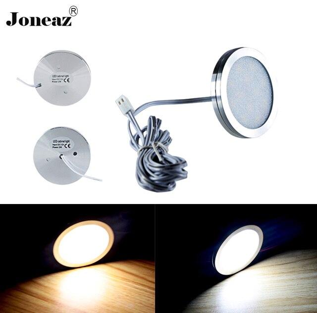 2pcs lot Led cabinet light for Wardrobe kitchen closet DC 12V round lamp 2 meter cable 2W smart super energy saving Joneaz