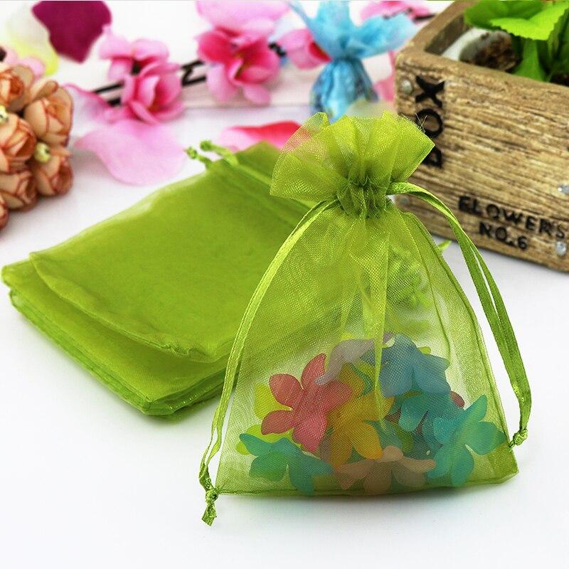 11x16cm Oilver Green Organza Jewelry Gift Bags Birthday Bag Saco De Tule Customized Logo Printing 100pcs Lot Wholesale