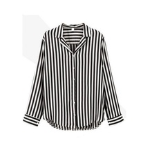 ROPALIA Casual Loose Striped Blouse Autumn Lady Long-sleeved Shirt European and American All-match Blouse Tops New for Lady