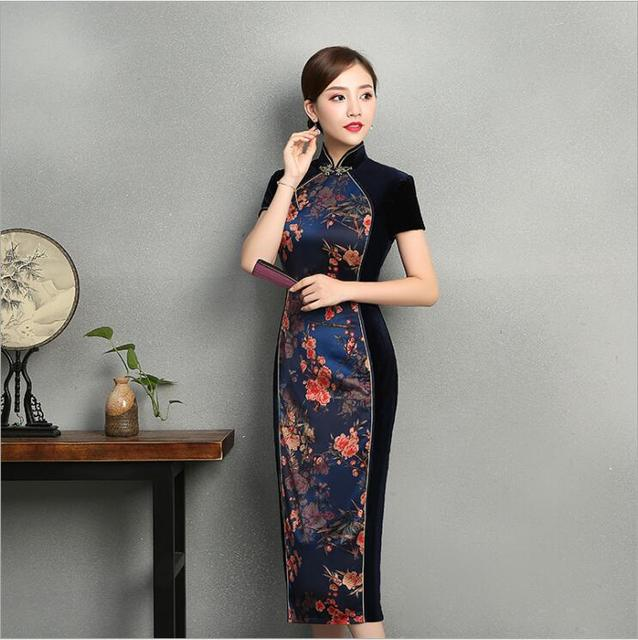 4b948ac31a5c2 Chinese vintage Style Long cheongsam Spring Autumn Short sleeve Traditional  stitching velvet fashion daily Qipao floral dress