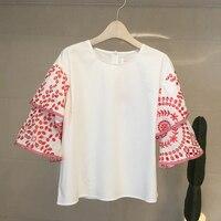 NIWIY Brand Summer Embroidered White Shirt Women Blouses Camisas Femininas 2018 Double Leaf Sleeve Women Tops Blusas Mujer892165
