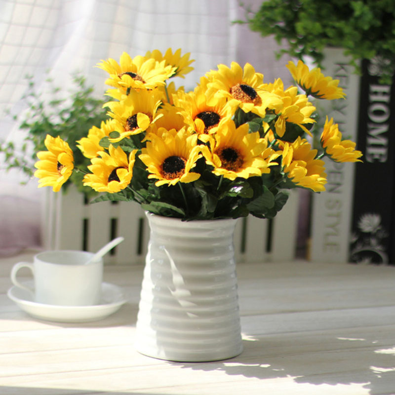 Sweet Artificial Sunflowers Plants Wedding Decorations Silk Flower Bouquet  Sunflower Table Decoration Home Decoration(China