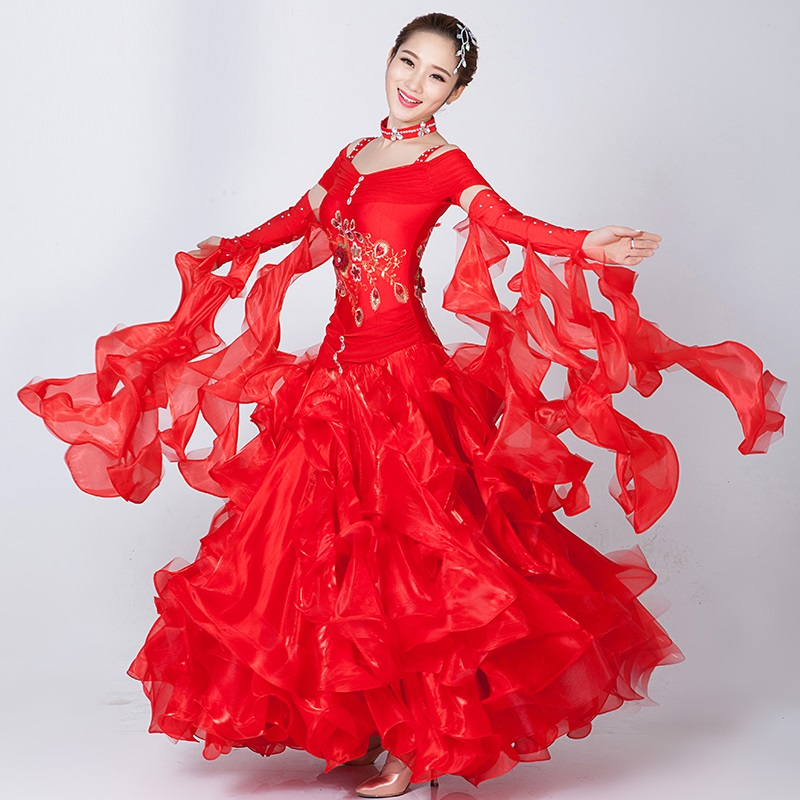Show details for Custom Woman Big Swing Pink/Red Sequins Standard Ballroom Dance Dress For Waltz/Tango/Foxtrot Performance Competition/Practice