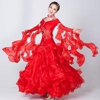 custom woman big swing pink/red sequins Standard ballroom Dance Dress for waltz/tango/foxtrot performance competition/practice