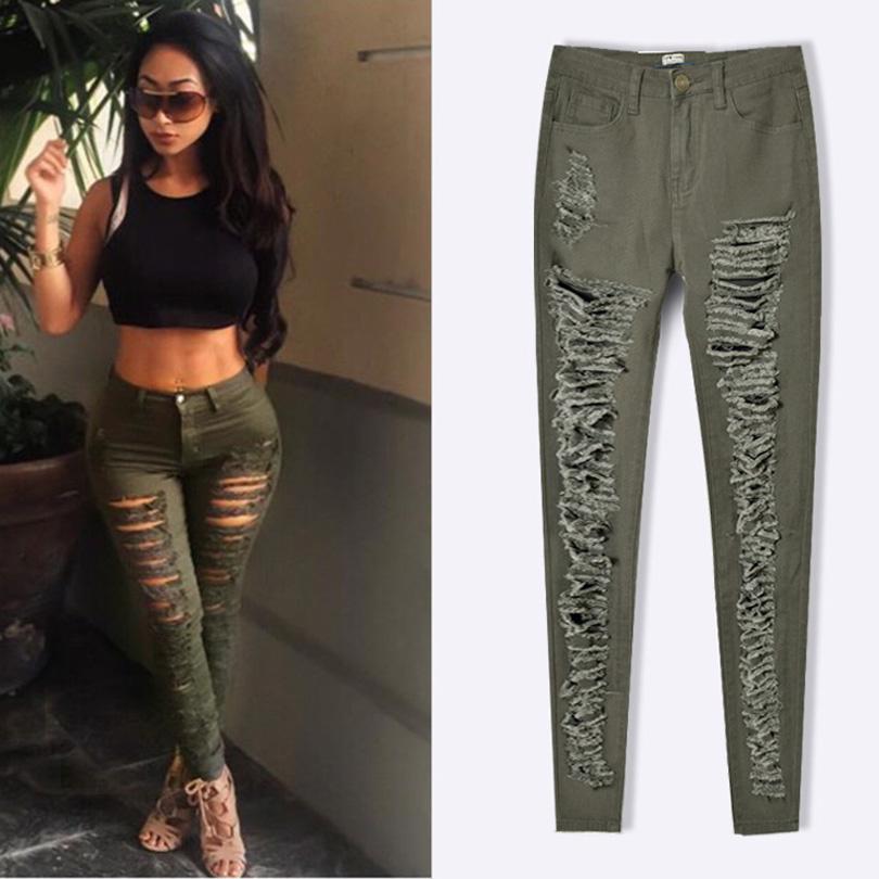 18f1939eabd38 Pop Slim Stretch Denim Trousers Women 2017 Ripped Skinny Jeans ...