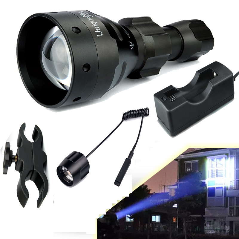 UniqueFire 1504-XPG White Light Lampe Torche 67mm Convex Lens Flashlight Kit: 1* Lantern, 1*Charger, 1*Scope Mount, 1*Rat Tail 2016 new uniquefire t20 4715as ir 850nm led flashlight upgraded 850nm design for precision hunting new lampe torche charger
