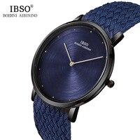 IBSO Mens Watches Top Brand Luxury 7MM Ultra Thin Quartz Watch Men Blue Nylon Braided Strap