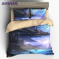 AHSNME Alien Invasion Colonial Base UFO Bedding United States Australia Europe King Queen Size Cover Set