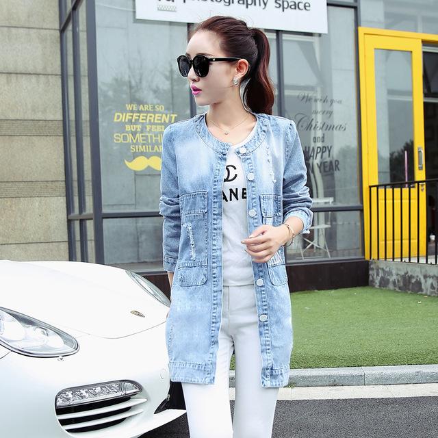 2016 Primavera y Otoño nuevas mujeres Coreanas impresión abrigo largo foso de las mujeres de gran tamaño abrigo de mezclilla de moda feminina CT166