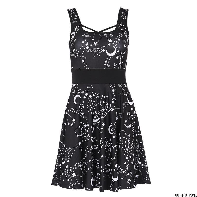 Gothique femmes Harajuku robe courte offre spéciale été décontracté étoile imprimer évider dos nu Sexy Mini noir sangle robes