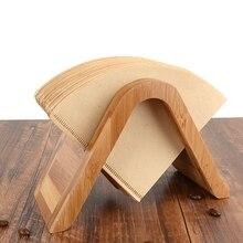 Bamboo Coffee Filter Paper Holder Simple Filters Dispenser Rack Shelf Storage Tissue Box Tool