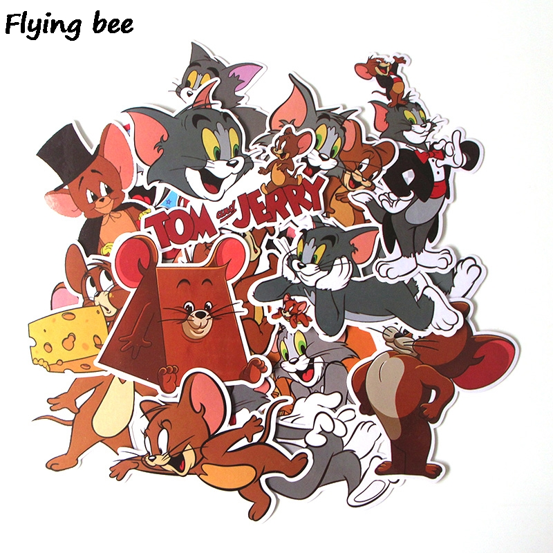 Flyingbee 17 Pcs Tom and Jerry Cartoon Cute PVC Stickers Scrapbooking for Car Luggage Laptop Decal Bedroom Diy Decoration X0280-in Stickers from Consumer Electronics