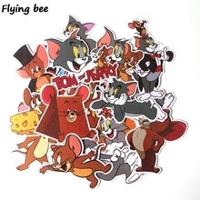 Flyingbee 17 Pcs Tom and Jerry Cartoon Cute PVC Stickers Scrapbooking for Car Luggage Laptop Decal Bedroom Diy Decoration X0280