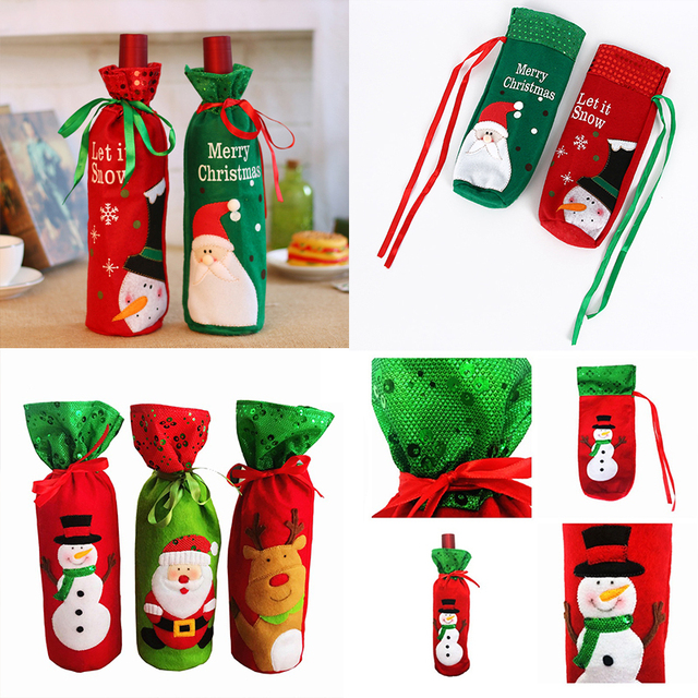sale christmas new year wine bottle decoration creative embroidery older snowman christmas wine set gift bag