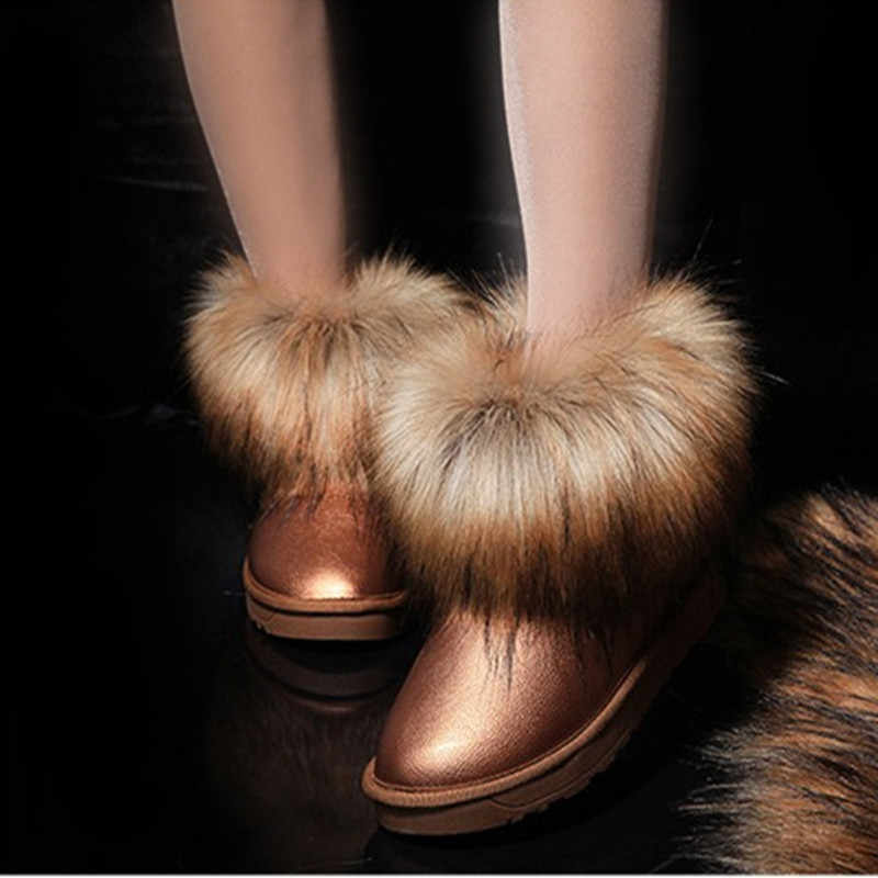 Europe and American Style Fashion Women Winter Snow Boots Suede Faux Fur Female Waterproof Snow Boots Slip-on Shoes