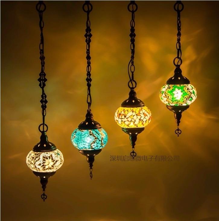 2016 Newest stytle Turkey ethnic customs handmade lamp romantic cafe restaurant bar tree <font><b>Pendant</b></font> light bar Mosaic <font><b>Pendant</b></font> lamp