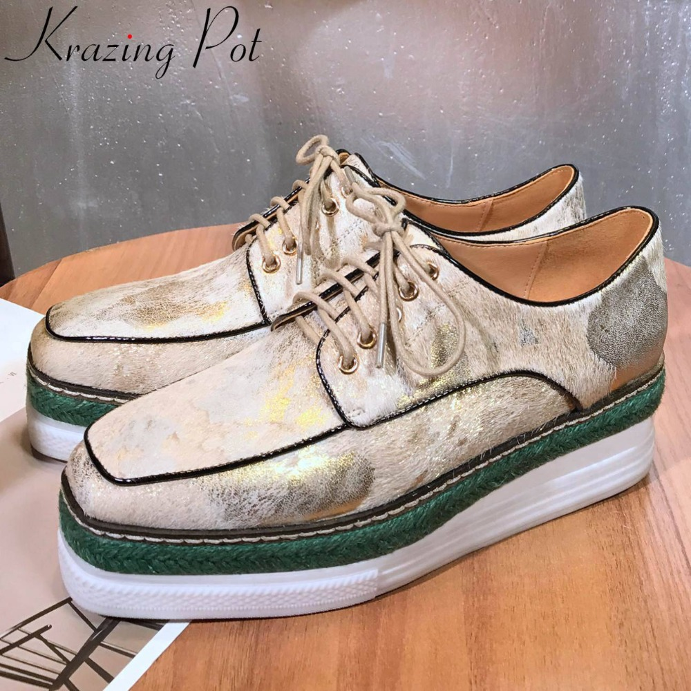 Krazing Pot high fashion luxury horsehair genuine leather classic square toe lace up med bottom platform vulcanized shoes L59Krazing Pot high fashion luxury horsehair genuine leather classic square toe lace up med bottom platform vulcanized shoes L59